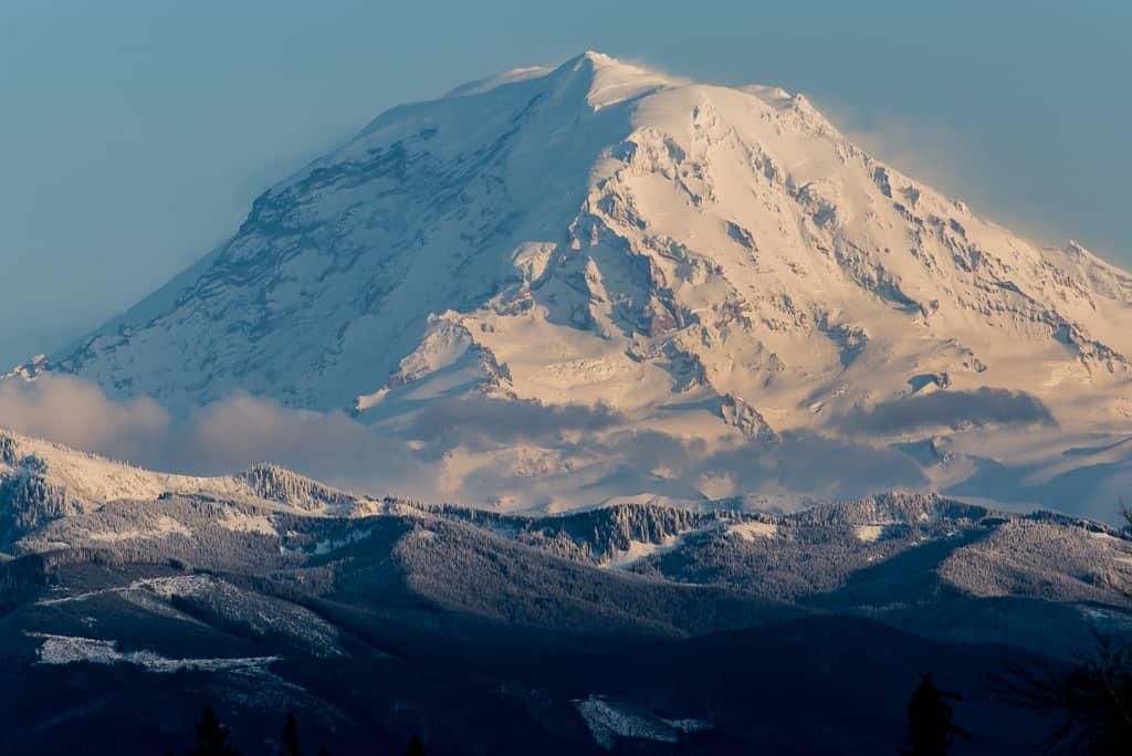 Snow covered Mt Rainier