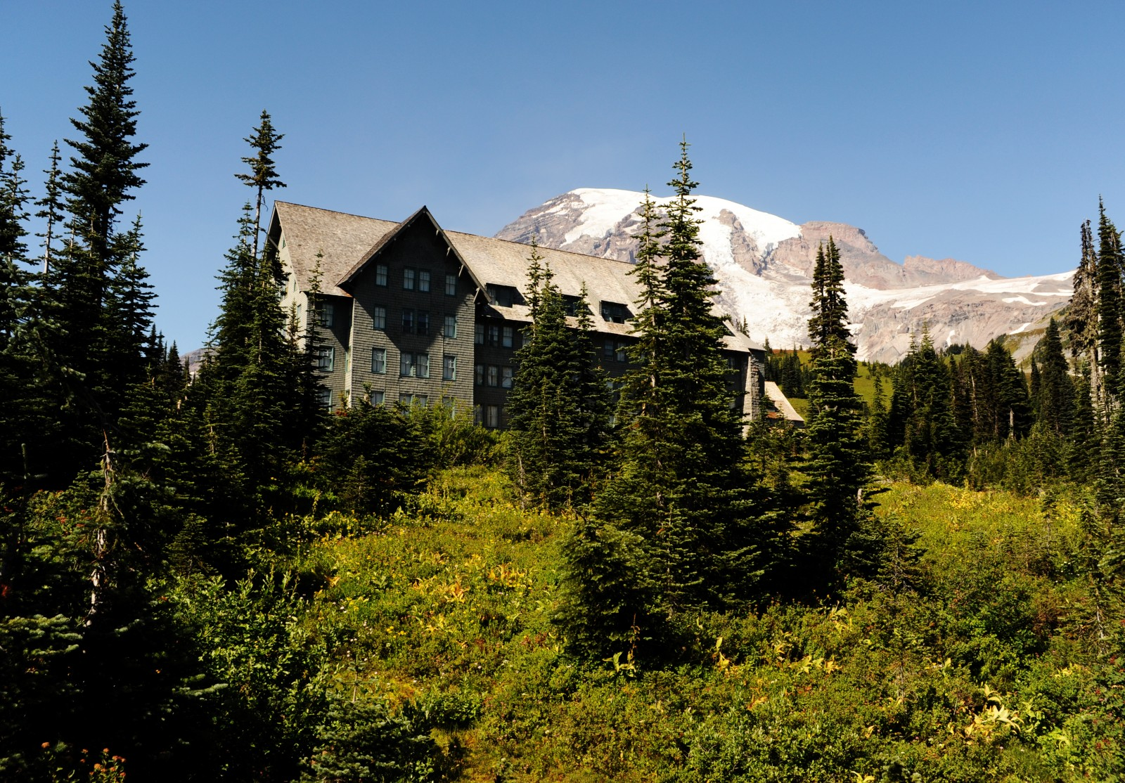 The Paradise Inn nestled below the top of Mt. Rainier