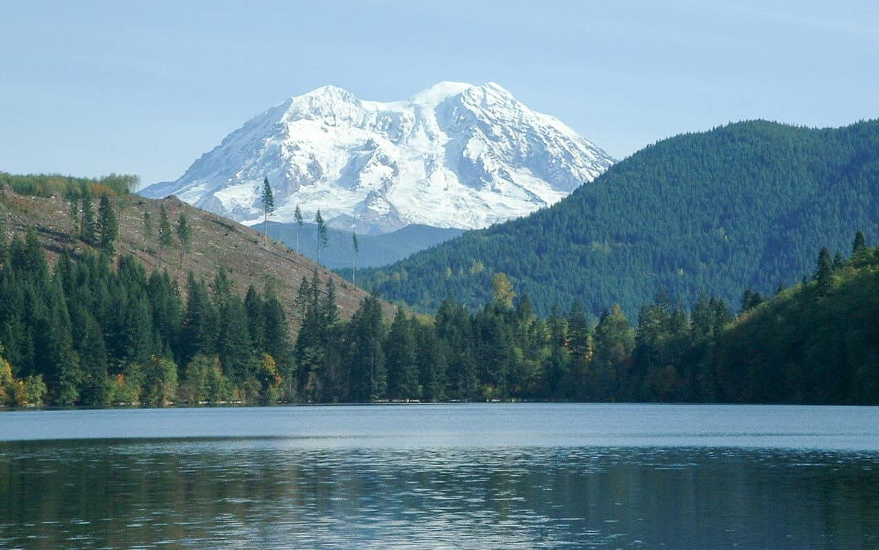 Mount Rainier as seen from Mineral Lake