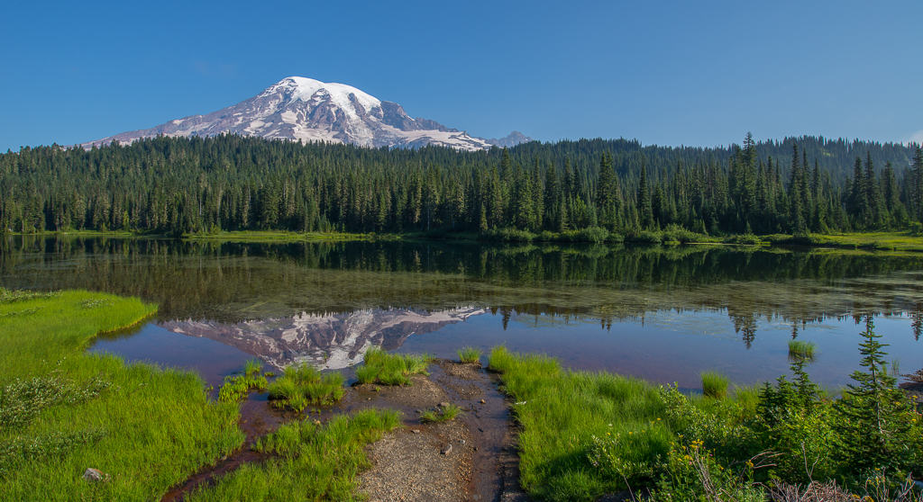 Reflection of Mt Rainier in Reflections Lake