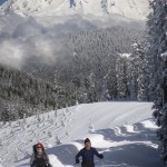 Jon De Armin and Doug Savage crosscountry skiing to Snow Bowl Hut