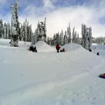 Kids Sledding at the Snow Play Area in Mt. Rainier National Park