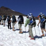 RMI group heads up the Camp Muir Trail in the snow
