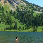 A child swimming in Crystal Lakes