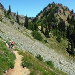 Hikers heading from Sourdough Gap to Crystal Lakes