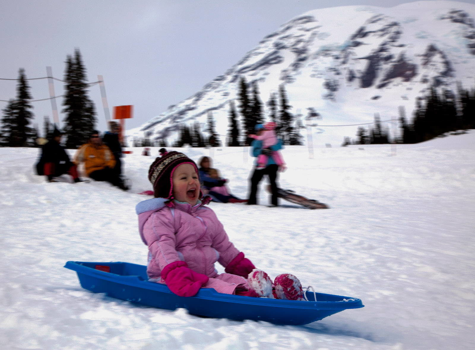 A girl sledding at Paradise Snowplay at Mount Rainier