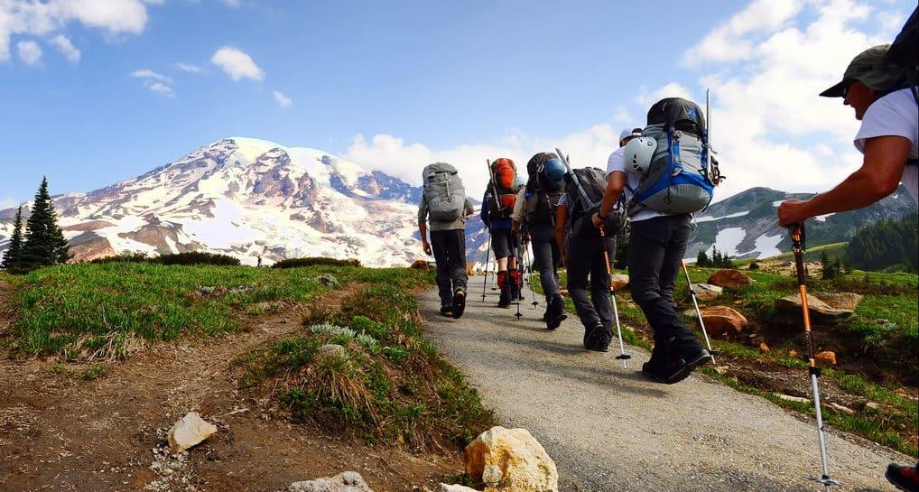 Climbers heading up mountain
