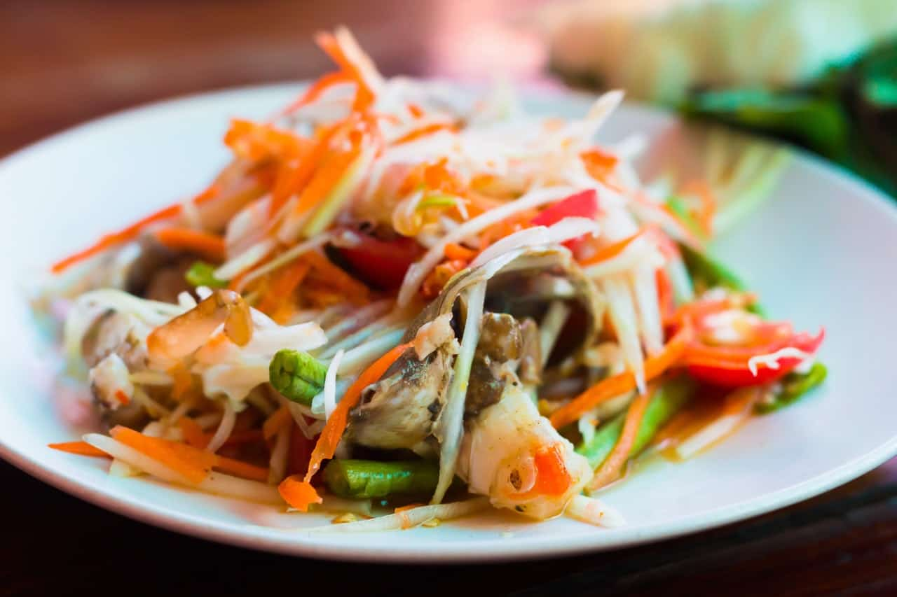 a plate of Thai food