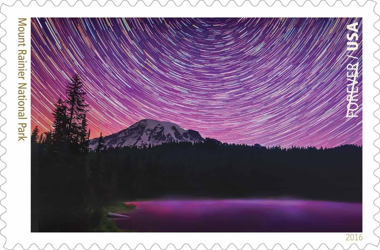 new stamp highlights mount rainier national park night sky