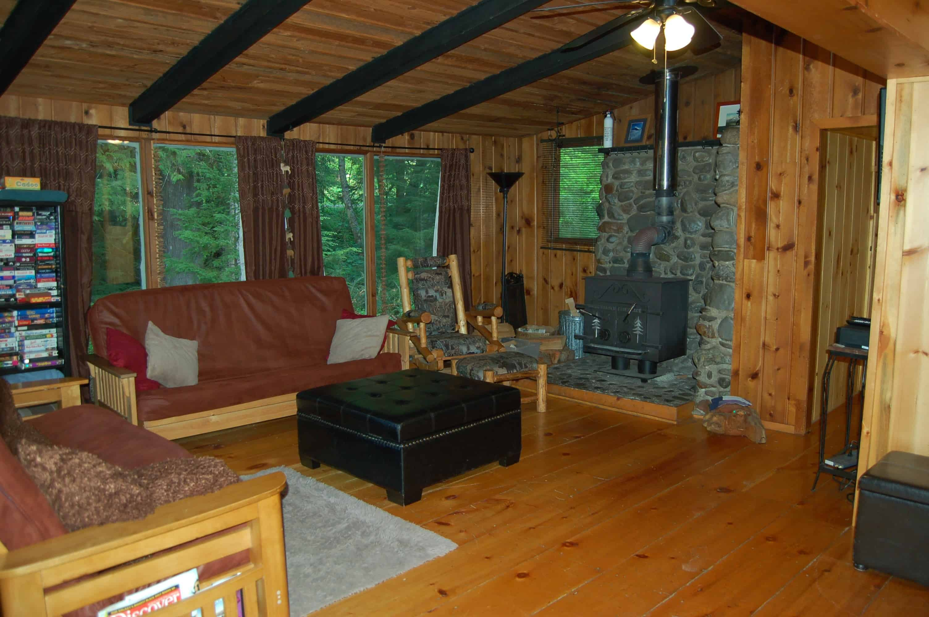 Stepping Stone Cabins VisitRainier -  cabin living room furniture