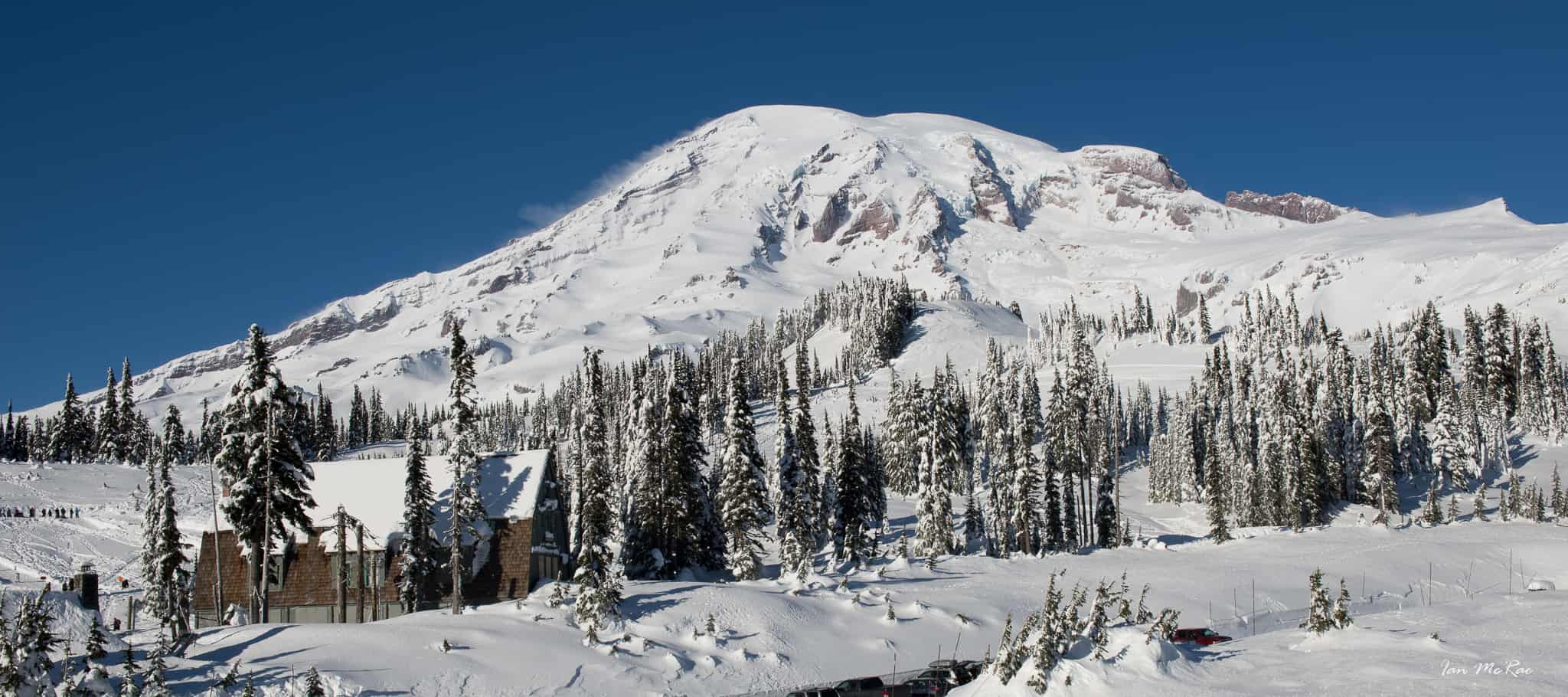 Mt Rainier covered in snow