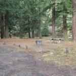 Picnic table at Halfway Flat Campground