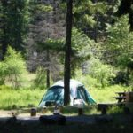 Tent campsite at Little Naches Campground