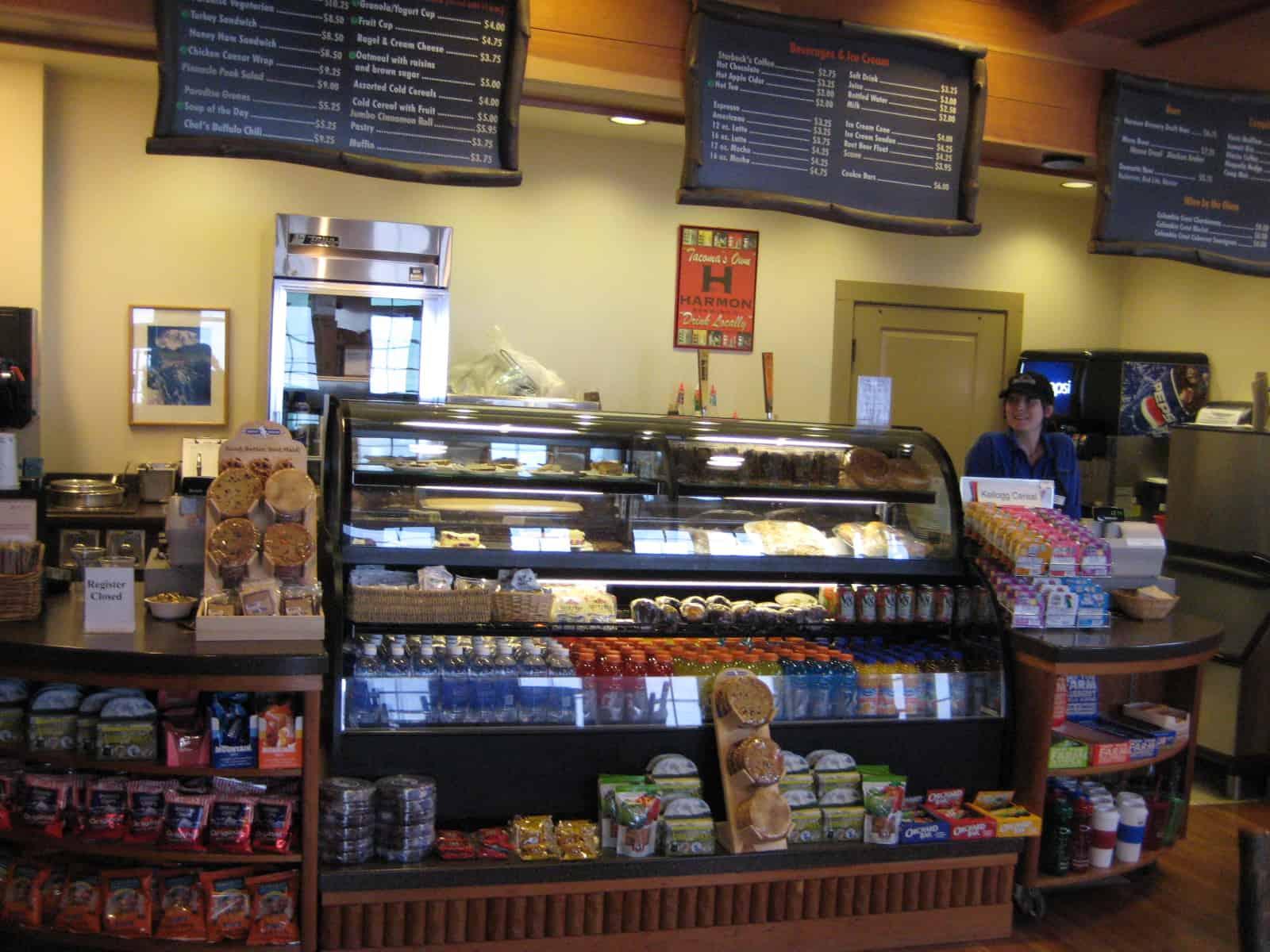 Display case at Tatoosh Cafe