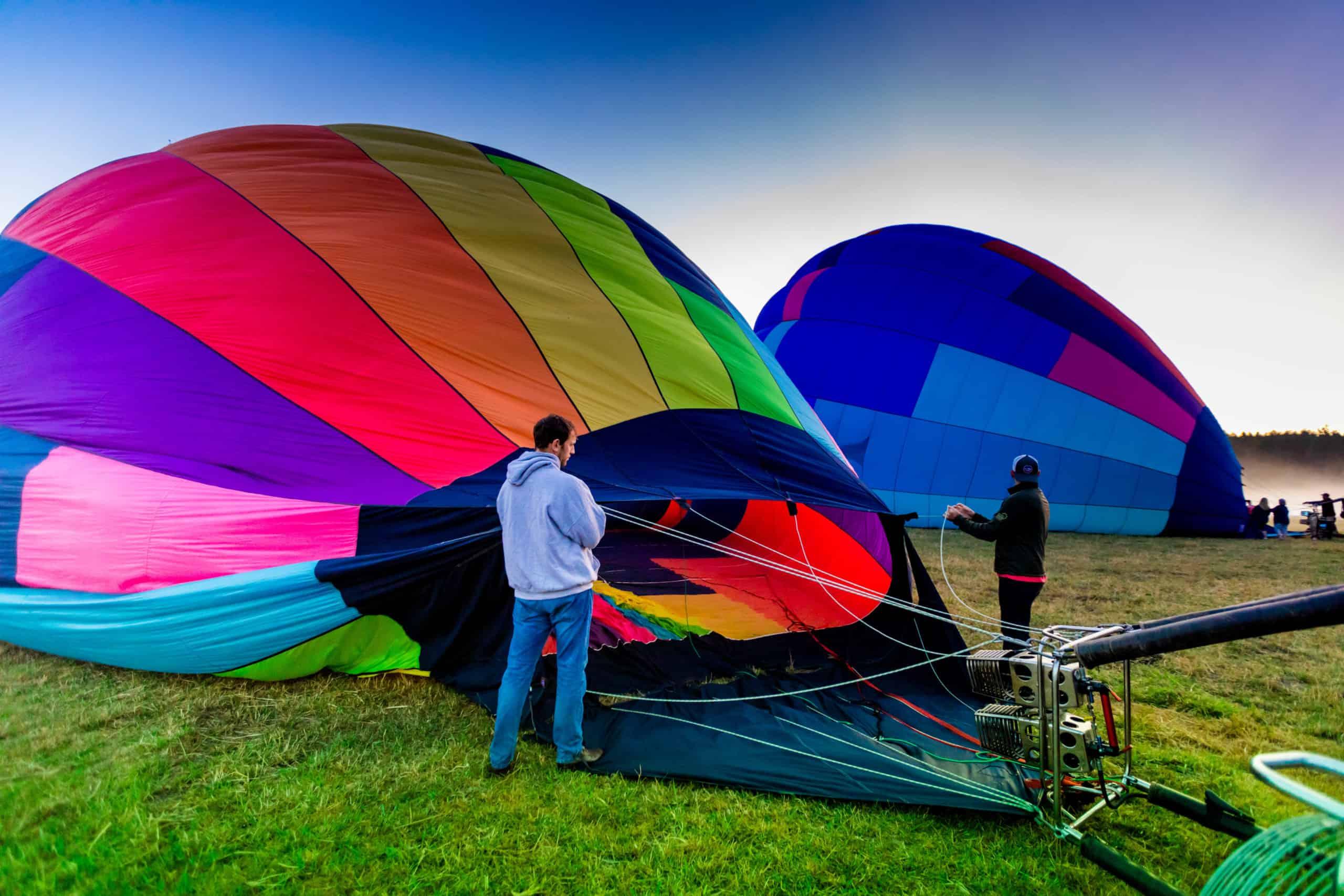 Hot air balloons at sunrise seattle