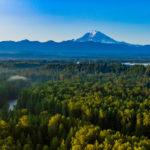 Mt. Rainier from hot air balloon