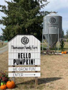Thomasson Family Farm sign and silo