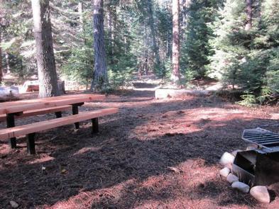 Picnic tables at Cougar Flat Campground