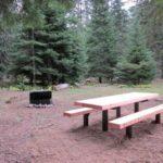 Picnic table at Cougar Flat Campground
