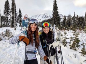 Two women Backcountry Skiing at Mount Rainier