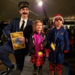 Train Conductor with children at the Polar Express Train Ride