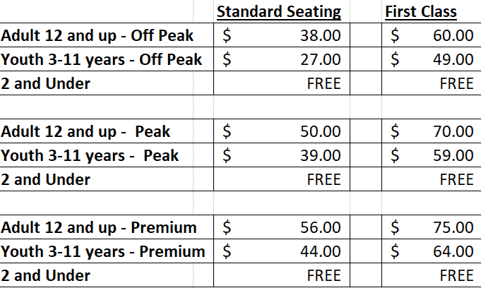 THE POLAR EXPRESS™ Train Ride Fares