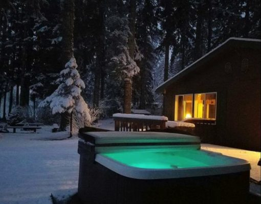 Outdoor hot tub can be used all year long, even in the winter