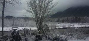 Winter scene outside The River House