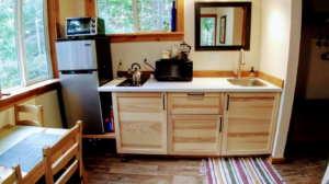 Happy Tails Cabin kitchen area