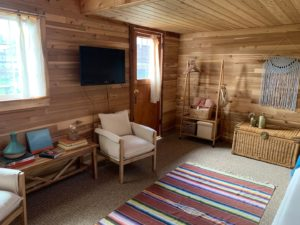 Living area at Red Cabin at Left Foot Farm