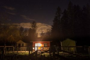 Night glow at the Red Cabin