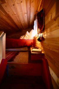 Sleeping loft at Red Cabin at Left Foot Farm