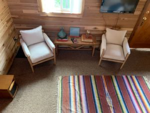 Sitting chairs at the Red Cabin at Left Foot Farm