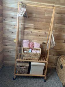 Closet at Red Cabin at Left Foot Farm