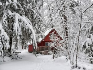Camp Alder with snow during the winter