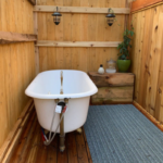 Private Outdoor Soaking Tub at Red Cabin at Left Foot Farm