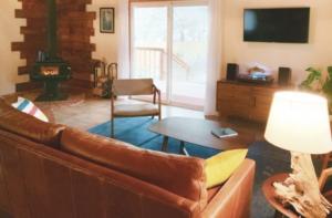 Living area at Camp Alder cabin