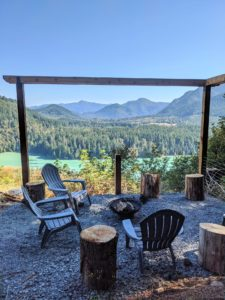 Chairs and firepit at Alder Lake Lookout