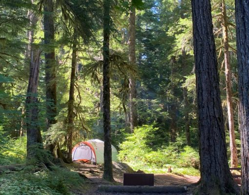 A tent at a campsite