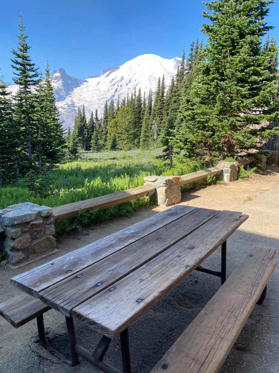 Picnic table near the visitor center at Sunrise