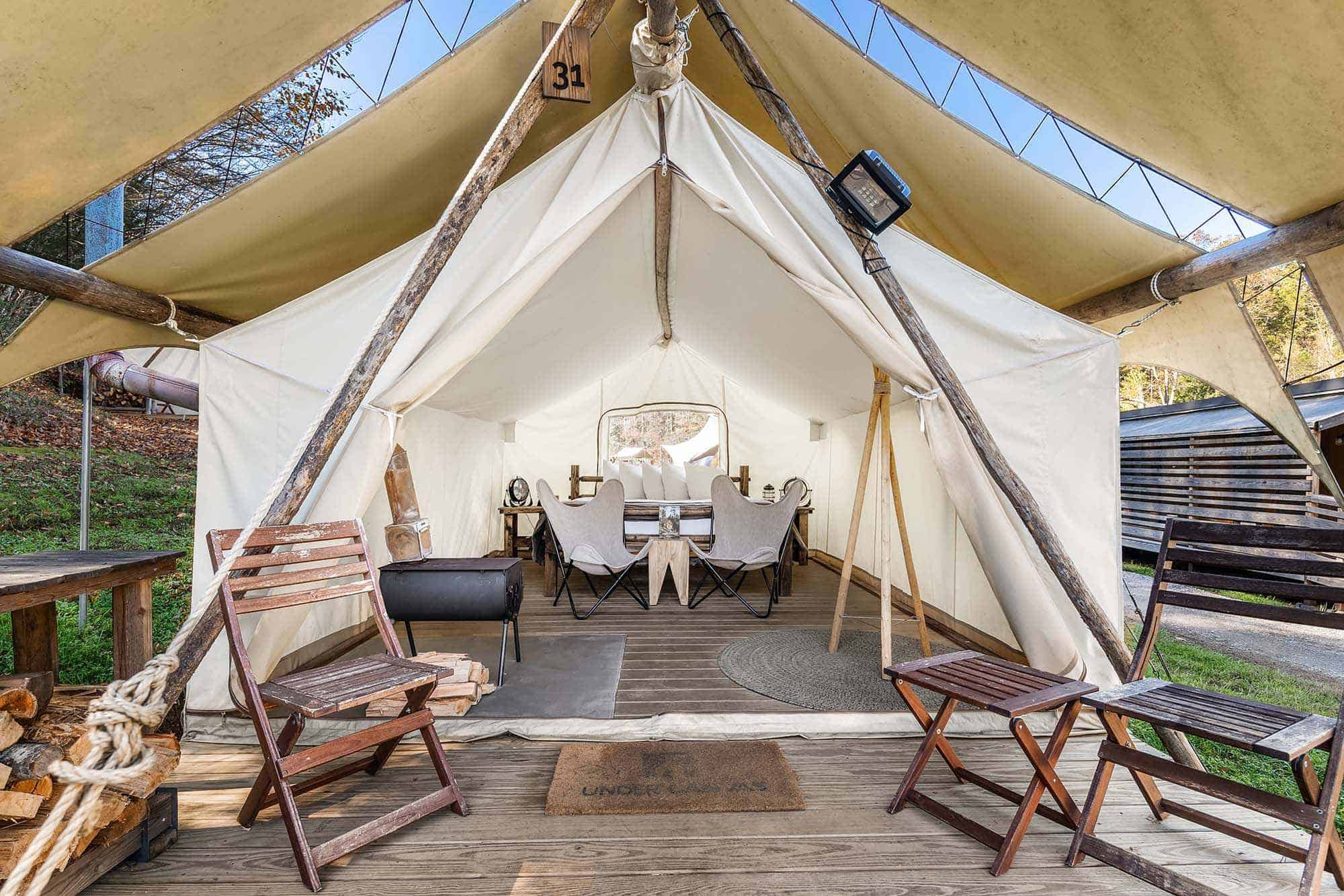 Glamping tent at the new Crystal Sky Camp