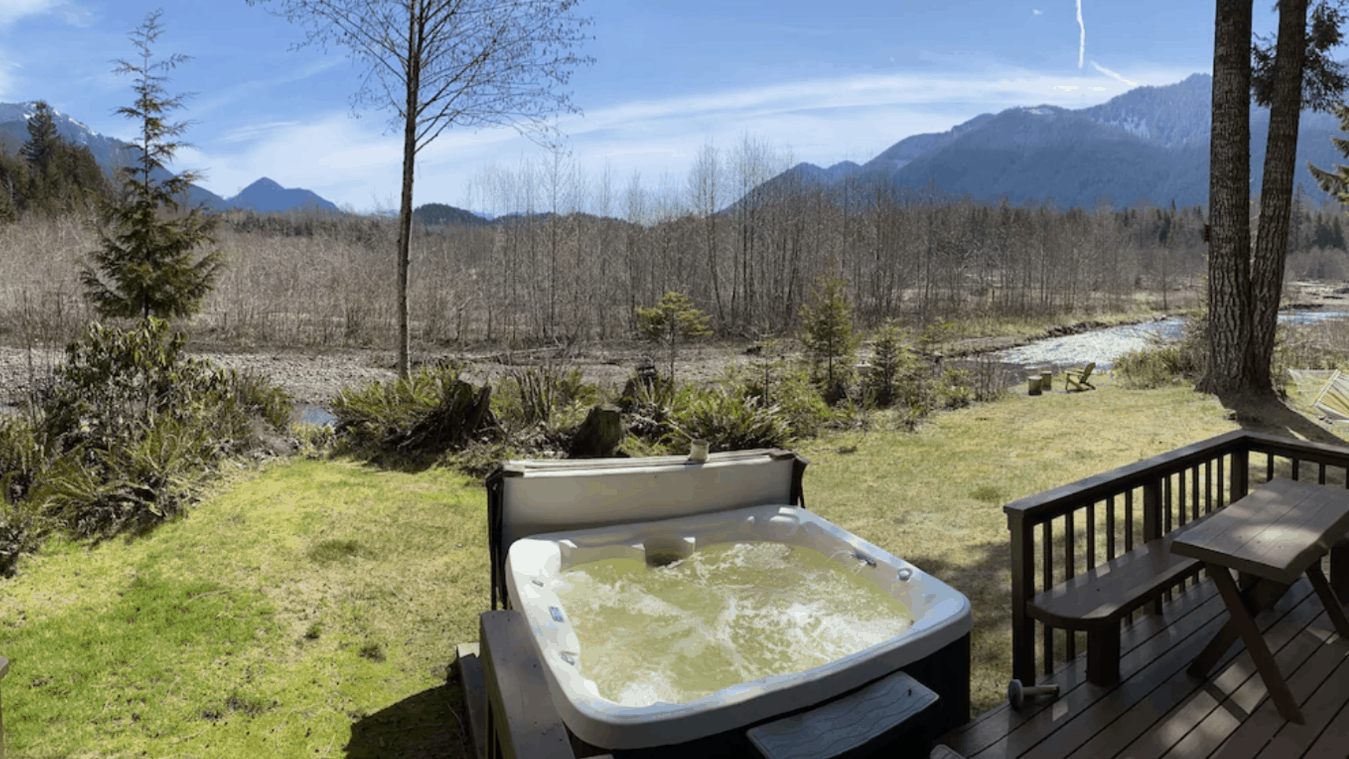 Outdoor hot tub with river view