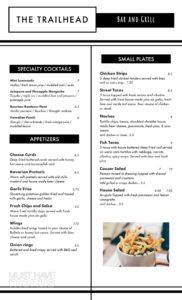 The Trailhead Bar & Grill menu