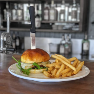 Burger and fries at The Trailhead Bar & Grill