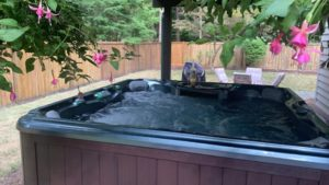 Covered outdoor hot tub